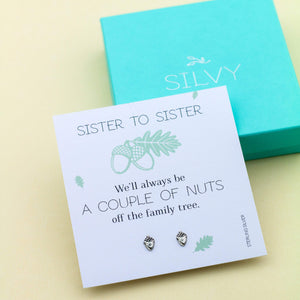 Acorn silver stud earrings with a sisters quote card with box, gift for her