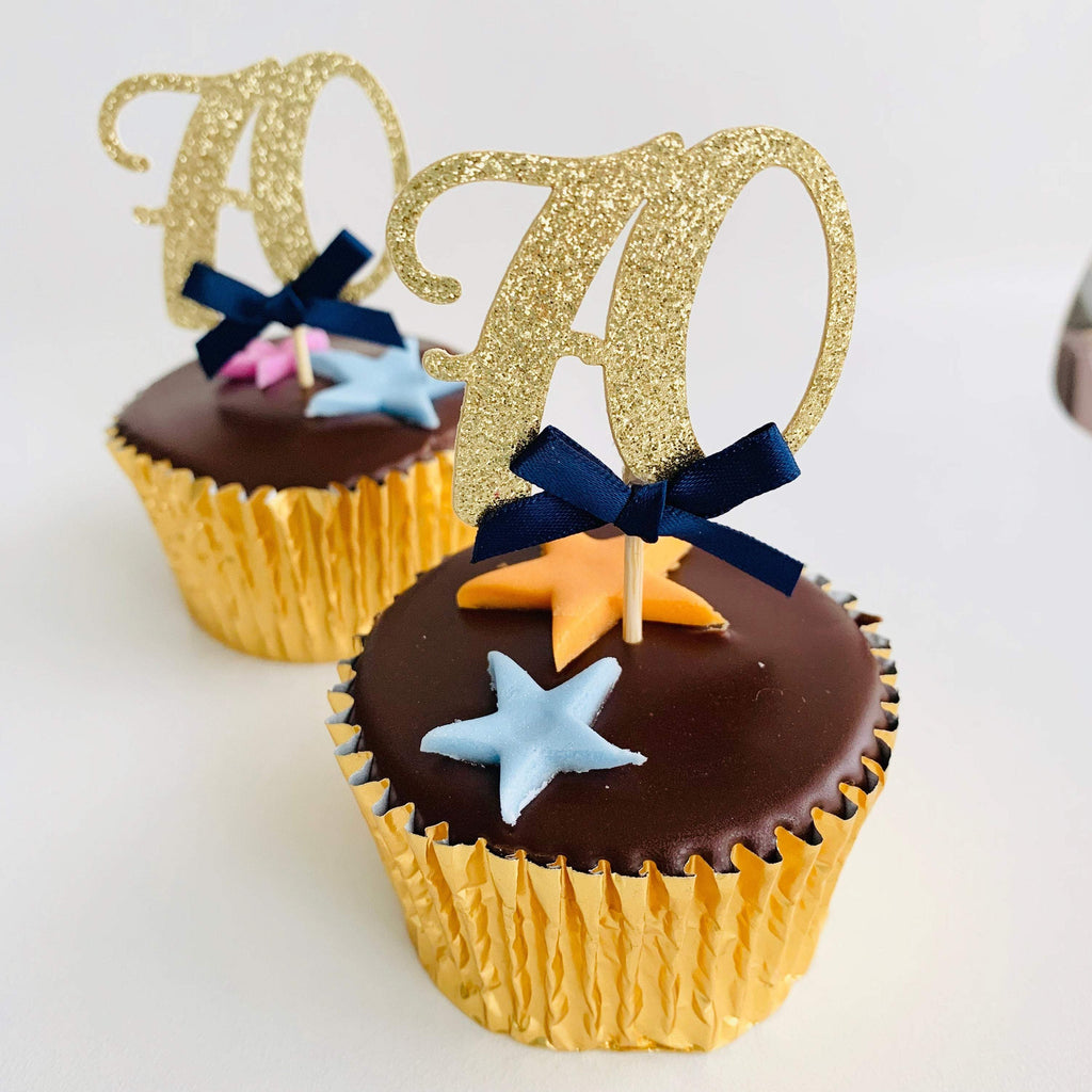 Age cupcake topper with bow, Personalised, Any Age Cupcake Picks, 12 Pieces