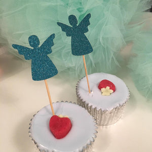 Angel Cupcake Toppers. 12 Pieces. Baby Shower, Birthday Decorations