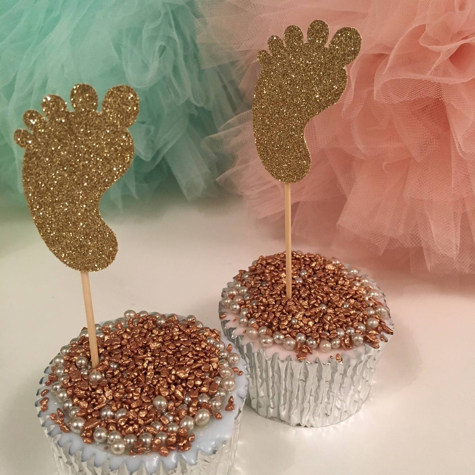 Baby Feet Cupcake Toppers. 12 Pieces. Baby Shower Decorations