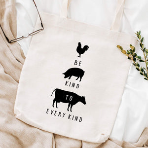 Be kind to every kind tote bag, Gift for vegan