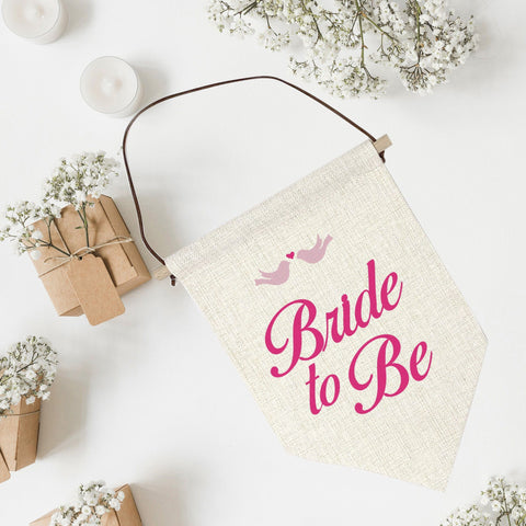Bride To Be Linen Flag. Bridal Shower Party Decor. Banner For Bachelorette Parties