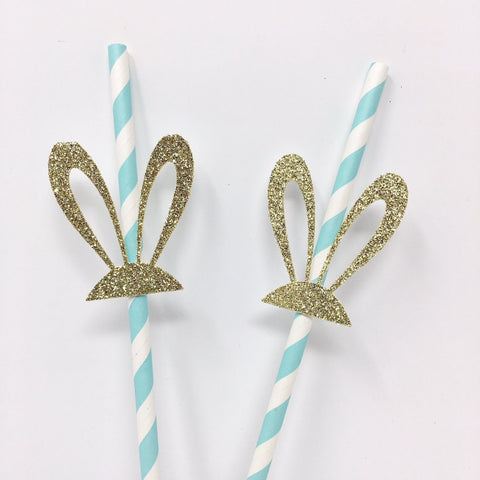 Bunny Ear Straws 10 Pieces Bunny Party Decor