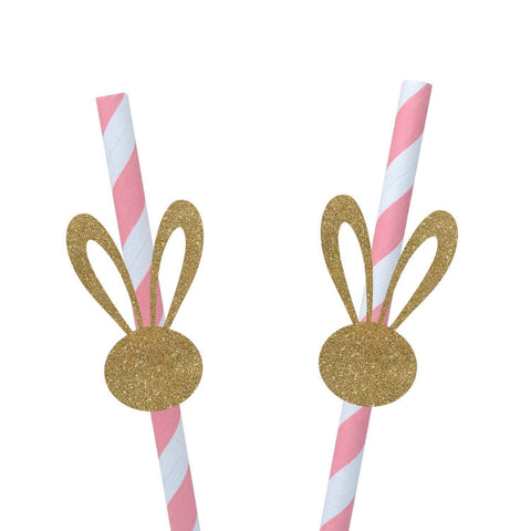 Bunny Ears Straws, 10 Pieces, Easter Decoration