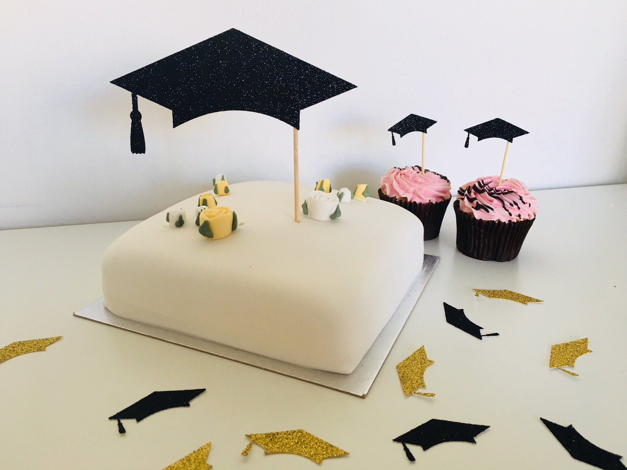 Cap Cake Topper. Graduation Party Decor