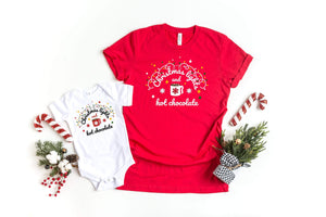 Christmas lights and hot chocolate T-shirts, 2020 Matching Family Christmas outfit