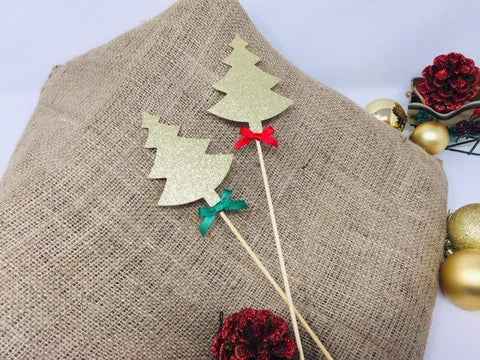 Christmas Tree Centerpiece with bows. SET OF 2