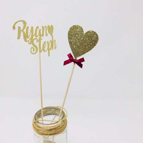 Couple Names And Heart Centerpiece Set of 2