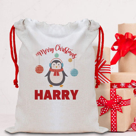 Cute Penguin Christmas Sack with a name, Personalised Large Linen Santa Sack