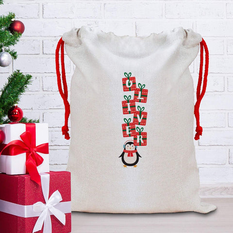Cute Penguin Christmas Sack with a name, Personalised Large Linen Santa Sack, Xmas Gift Sacks