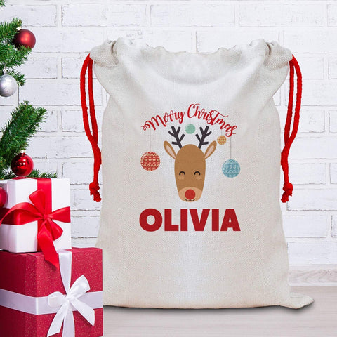 Cute Reindeer Christmas Sack with a name, Personalised Large Linen Santa Bag