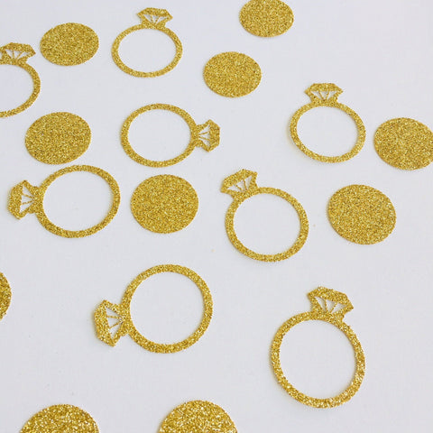 Diamond Ring Confetti. 25 Pieces. Engagement Party Decorations