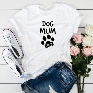 Dog mug with a dog name T-shirt, Paw prints tee, Unique gift for pet lover