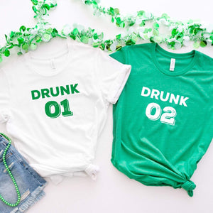 Drunk 1 Drunk 2 T-shirt, Funny St Patricks Day tee with beer glass, Irish, Green shamrock tee, Drunk tshirt