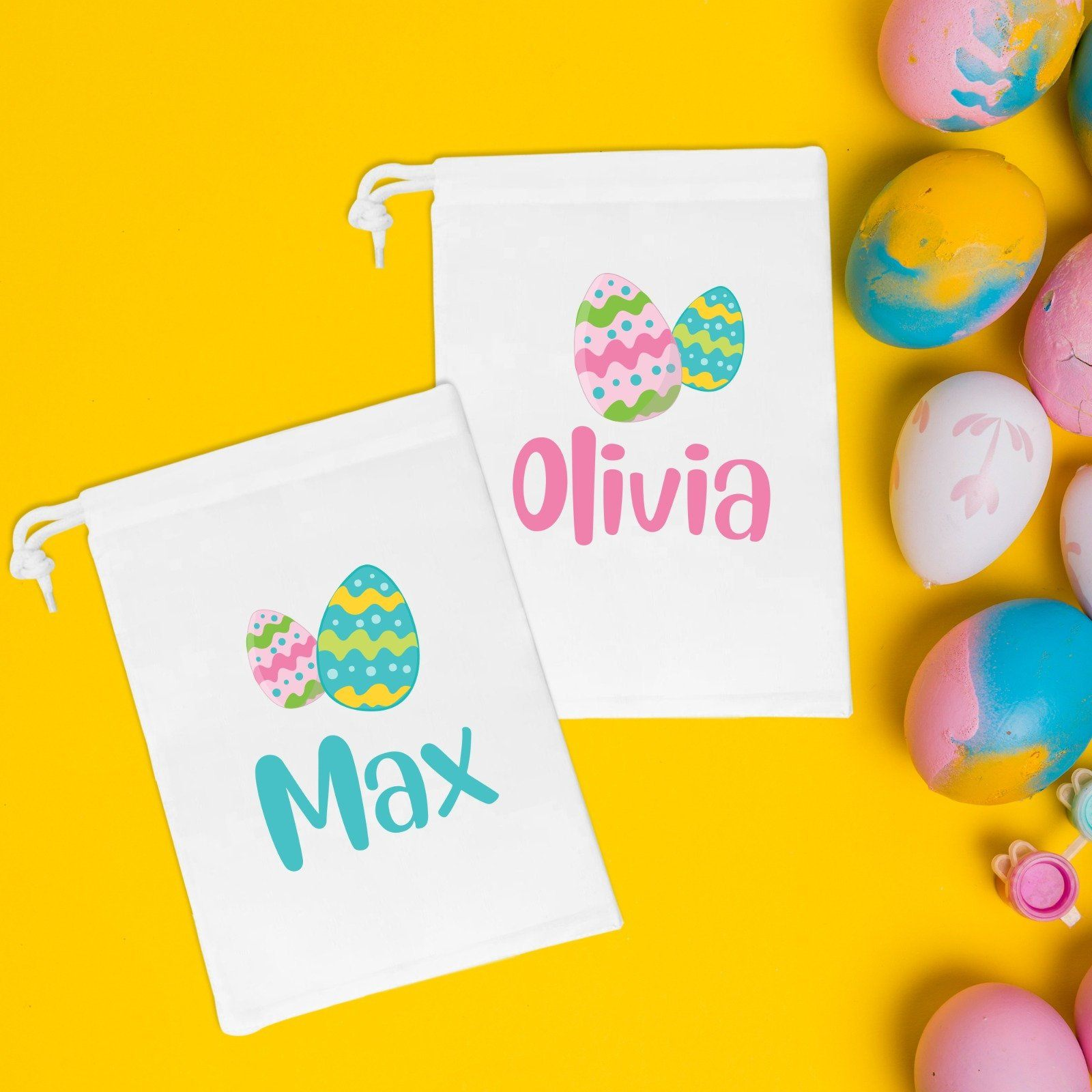 Easter treat bag, personalised with name, Easter eggs favour bags