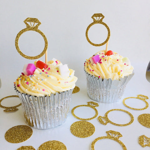 Engagement Ring Cupcake Toppers, 12 Pieces