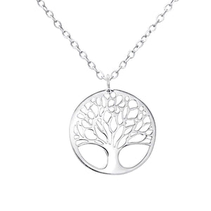 Family tree silver necklace with a family quote card. Gift for family