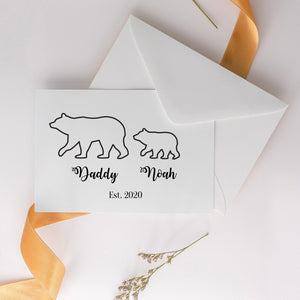 Father's Day Card, Bear Family, Personalised Greetings Card