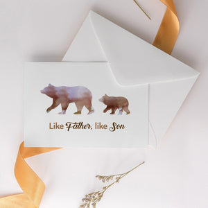 Father's Day Card, Like Father, Like Son Personalised Gift For Dad, Bear Family