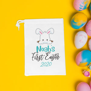 First Easter treat bag, personalised with name and date, Easter eggs favour bags