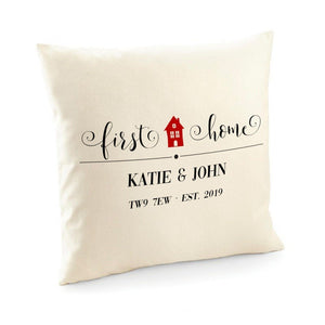 First Home Cushion Cover With Names, Date And Postcode, Gift For New Home