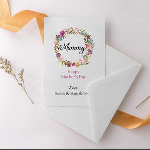 Floral, Mummy Happy Mother's Day Card, Greeting Card for mum, Mum birthday card