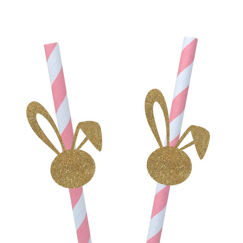 Funny Bunny Ears Straws, 10 Pieces, Some Bunny Is One Birthday