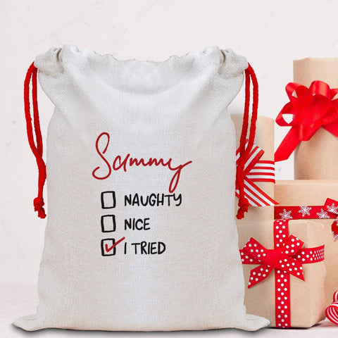 Funny Christmas Sack with a name, Personalised Large Linen Santa Sack, Xmas Bags