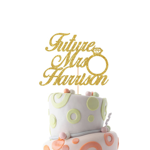 Future Mrs Cake Topper With The Last Name, Personalised Engagement Cake Decoration