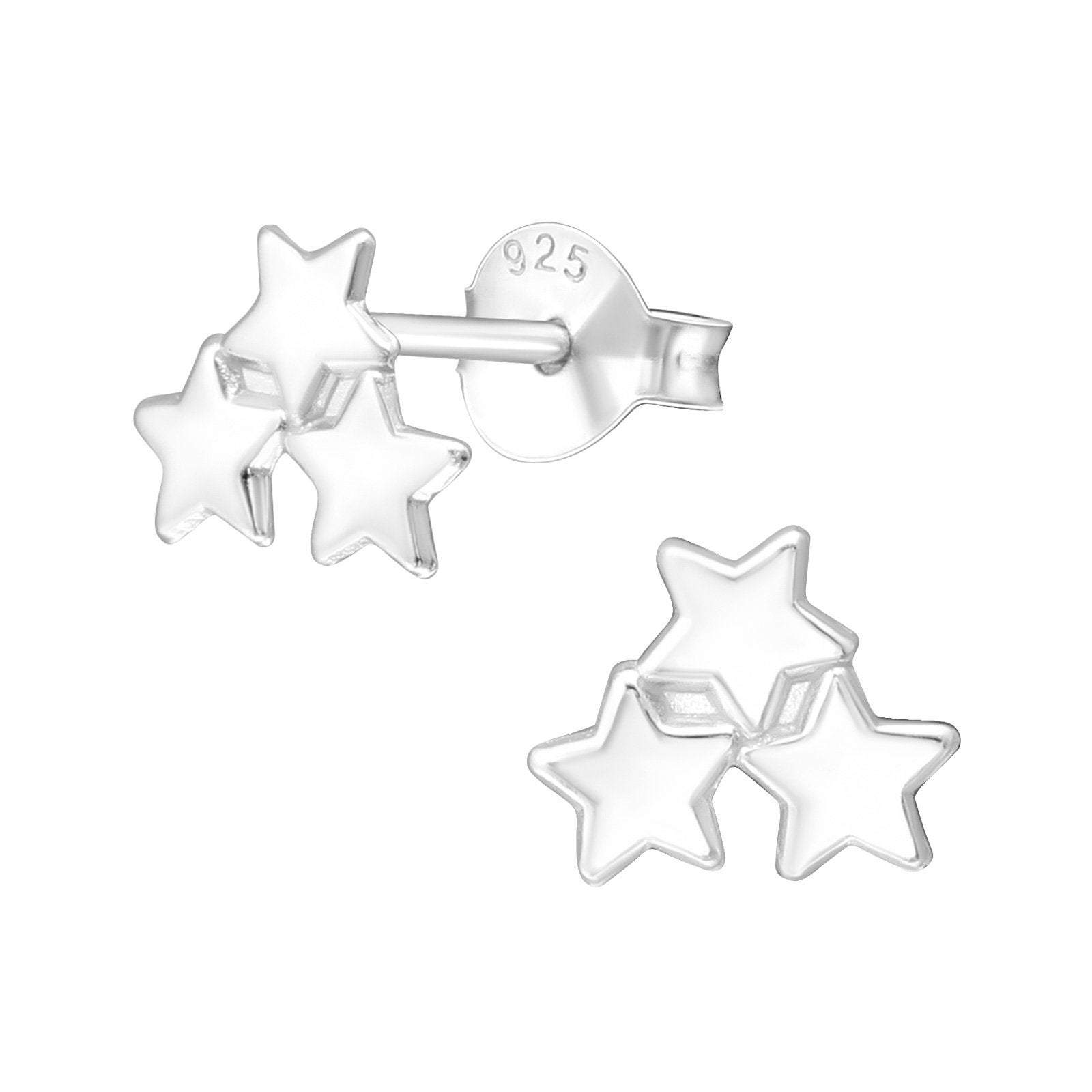Gift for 30th birthday. Each star for each decade. Star ear stud jewellery with box