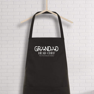 Grandad Apron With Family Name, Personalised Grandad Head Chef, Bbq Apron, Gift For Dad