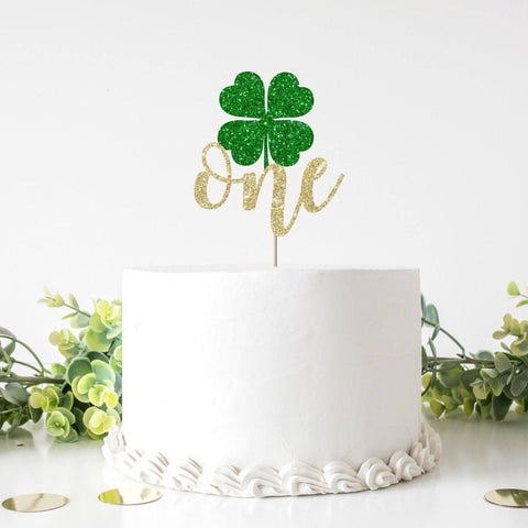 Green Shamrock one St. Patricks Day themed Birthday cake topper. One shamrock First birthday