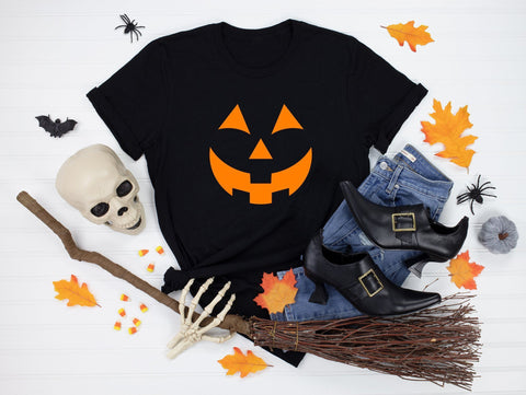 Halloween T-shirt, Scary Pumpkin Custome, Pumpkin Face Halloween Tshirt