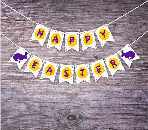 Happy Easter Bunny Banner. Easter Decorations