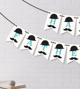 Happy Father'S Day Banner With Moustache And Bowler Hat. Happy Fathers Day Decoration