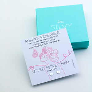 Heart shaped silver earrings with you are stronger than you think card with box. Christmas Gift for her