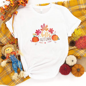 Hello Autumn t-shirt with autumn leaves and pumpkins, Fall Tshirt