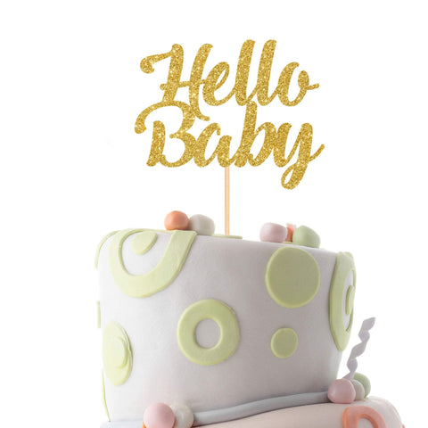 Hello baby cake topper, Baby shower cake topper, Welcome baby party cake