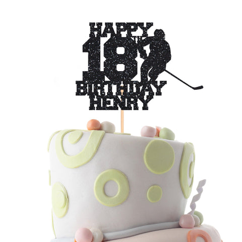Hockey Birthday Cake Topper, Personalise Teenage, Kids, Adult Hockey Themed Cake Topper