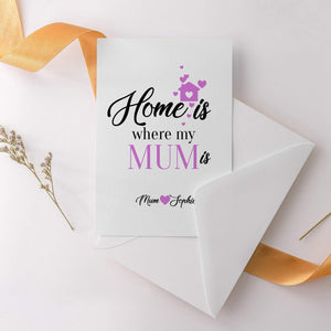 Home is where my mum is Mother's Day Card, Greeting Card for mum
