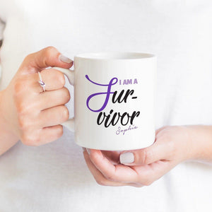 I am a survivor mug with name, Personalised Gift for cancer survivor with name