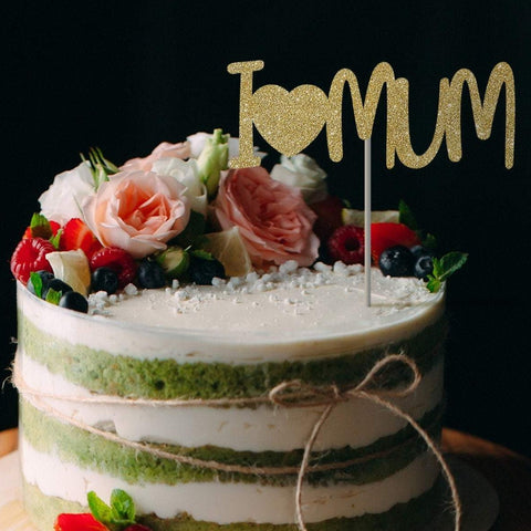 I love Mum cake topper. Mother's day decor. Mothers Day idea. I heart Mum