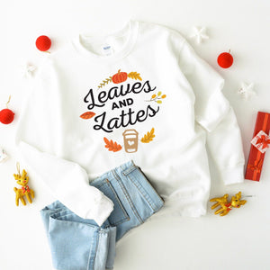 Leaves & Lattes jumper, Autumn jumper, Fall T-shirt