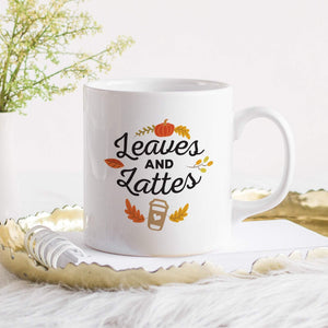 Leaves & Lattes mug, Autumn decor, Fall coffee mug, Cosy decorations, Cute new home gift
