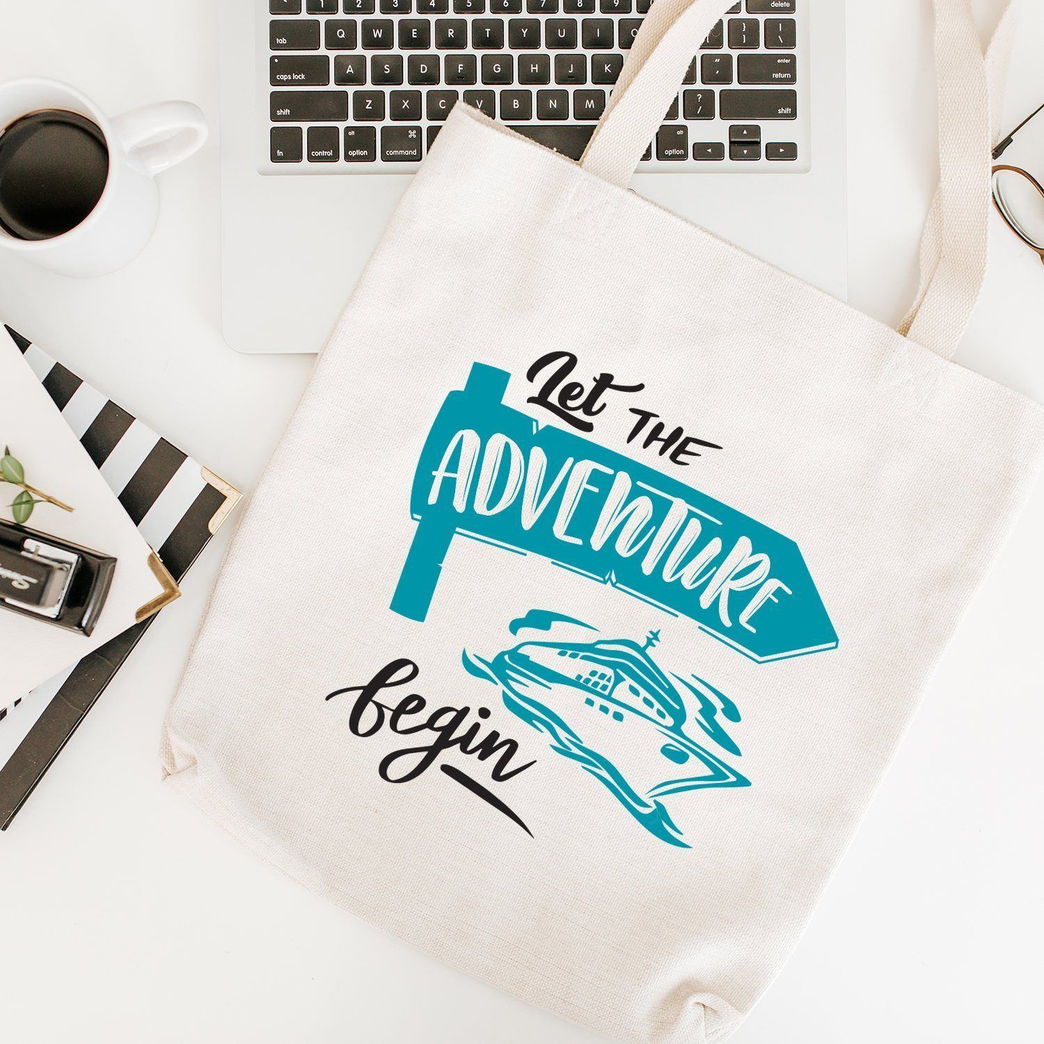 Let The Adventure Begin Tote Bag With Cruise Boat, Travel, Holiday Shopping Bag