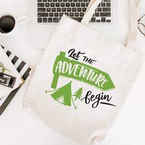 Let The Adventure Begin Tote Bag With Tent, Travel, Holiday Shopping Bag