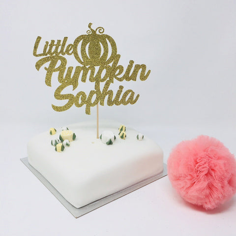 Little Pumpkin Party Cake Topper with a Name