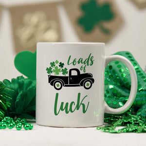 Loads of luck shamrock truck mug, St Patricks Day gift, Irish, Green shamrock mug