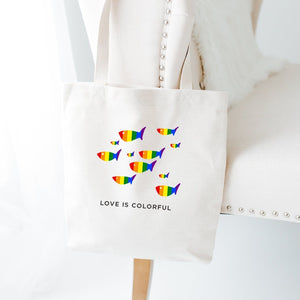 Love Is Colorful Tote Bag, Lgbt Flag Colors, Tote Bag For Gay Pride