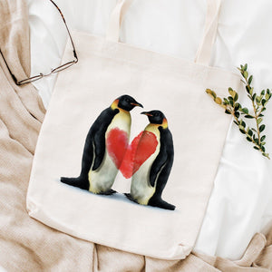 Love tote bag with penguin couple, Valentine's Day gift